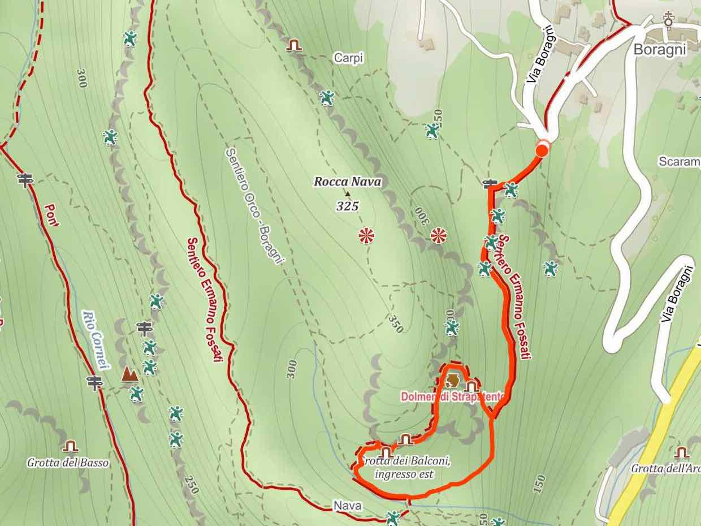 Mappa anello Grotte della Strapatente e dei Balconi